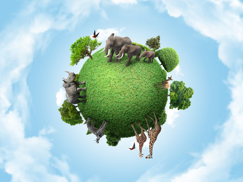 Green peace earth, miniature planet, globe concept showing a green, peaceful and animals herbivore life