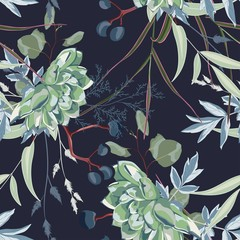 Herbs and succulent, herbs and flowers seamless pattern. Blue background.