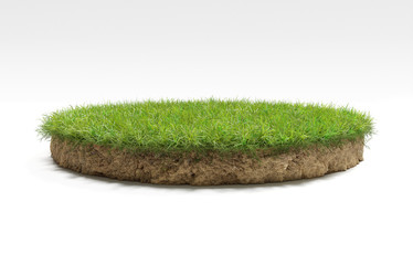 Fototapeta realistic 3D rendering circle cutaway terrain floor with rock isolated, 3D Illustration round soil ground cross section with earth land and green grass
