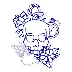 Foto auf AluDibond Aquarell Schädel skull print/skull illustration/evil skull/concert posters/skull canvas print/skull tattoo/skull art/watercolor skull/Black grunge vector skull/Human skull on isolated white background/T-shirt Graphics