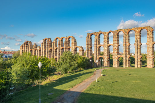 Panoramic view of the famous aqueduct called Los Milagros, located in Mérida, capital of the ancient Lusitania in Roman times