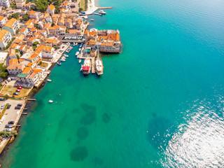 Aerial view of village of Kastel Gomilica in Croatia