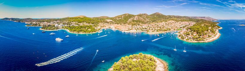 Aerial view of Paklinski Islands in Hvar, Croatia