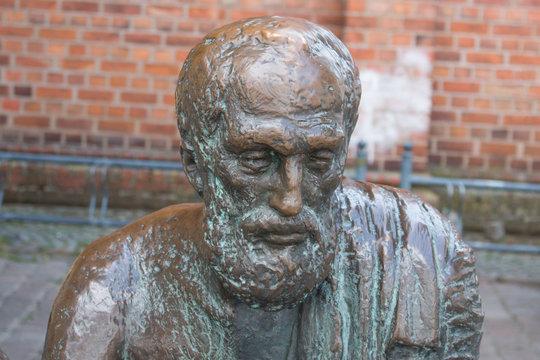 Archimedes Statue Market Place in Güstrow Mecklenburg Western Pomerania Germany