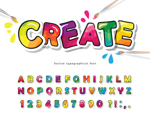Cartoon colorful font for kids. Creative paint ABC letters and numbers. Bright glossy alphabet. Paper cut out. For posters, banners, birthday cards. Vector