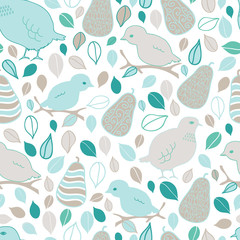 Partridge and Pears vector seamless pattern. Fun pattern with hand drawn mama and baby birds, pears and leaves.