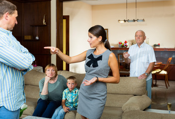 Quarrel between husband and wife in a large family