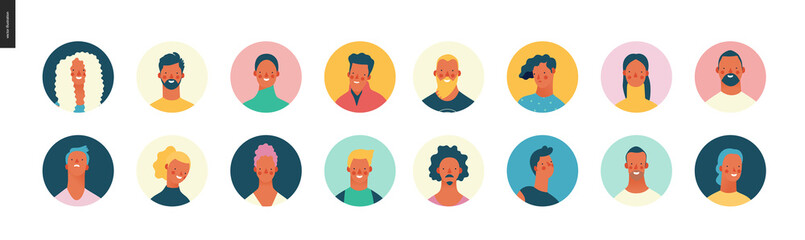Bright people portraits set - hand drawn flat style vector design concept illustration of young men and women, male and female faces avatars. Flat style vector round icons set Wall mural