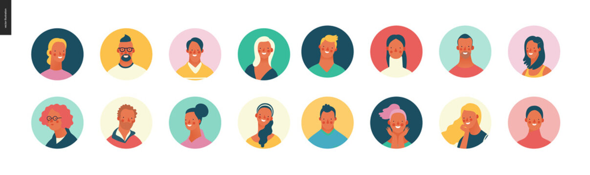 Bright people portraits set - hand drawn flat style vector design concept illustration of young men and women, male and female faces avatars. Flat style vector round icons set