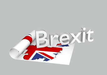 Brexit Thema, aufgerolltes Papier mit Karte von Großbritannien mit Brexit als Text. 3d rendering