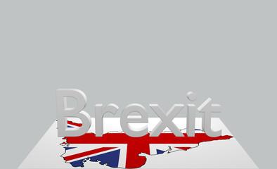Text Brexit  mit Karte von Großbritannien. 3d rendering