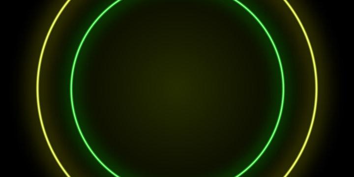 Neon yellow green background light black circle illustration. Element of neon ba