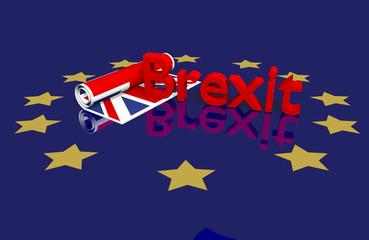 Brexit Thema, eingerollte UK Fahne mit Text auf EU-Boden. 3d rendering mit Spiegelung im Boden.