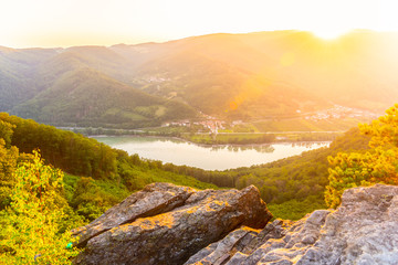 Photo Stands Melon Sunset in Wachau Valley with Danube River, Austria