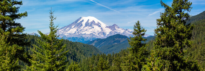 Panoramic image of Mount Rainier National Park in the state of Washington in August