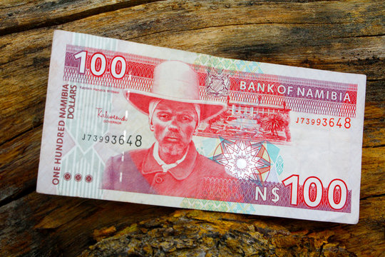 South african countries banknotes and coins for background. Namibian dolar