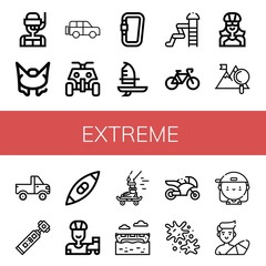 Set of extreme icons such as Dive, Bungee jumping, Jeep, All terrain, Carabiner, Windsurf, Waterpark, Bicycle, Biker, Mountain, Action camera, Kayak, Roller skate, Skateboard , extreme