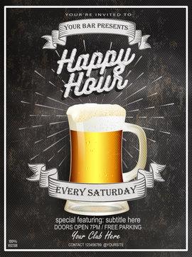 Beer Happy Hours flyer, banner or template design with beer glass on chalkboard background. Vintage concept background, art template, retro elements, logo, labels, layout, badge,  banner, card. Eps 10