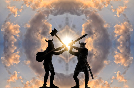 Two silhouettes of armed Viking warriors  with axe and sword against sky with circle of clouds and bright sun
