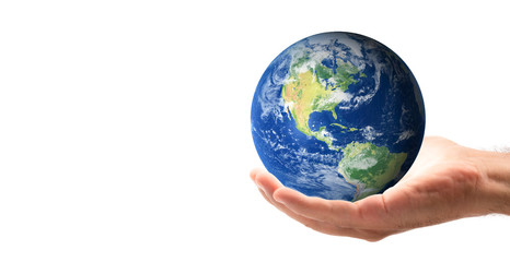 male hand holding the world in his hand