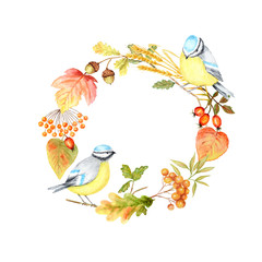 Ingelijste posters Papegaai Autumn leaf, berries and Tomtit birds Frame isolated on a white background. Watercolor hand drawn Bird BlueTit sitting on the Branch. Greeting card, poster, banner concept with copy space for text.