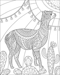 Alpaca and cactus floral coloring page for adult and children. Black and white vector illustration for coloring book design.