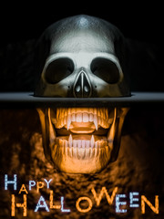Happy Halloween background - front view of skull on black and orrange - 3d render