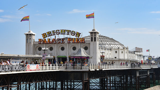 Brighton, UK - Aug 2, 2019: Brighton Palace Pier on a summers day