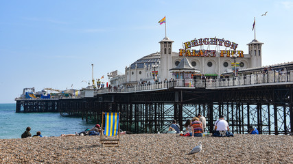 Brighton, UK - Aug 2, 2019: Brighton Palace Pier on a summers day Wall mural