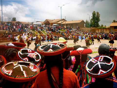 Chinchero, Cusco, Peru - Jan 10, 2010: Crowds gather to watch traditional Quechua dances in the Peruvian Andes