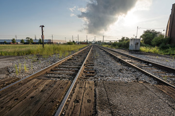Landscape vintage of railroad tracks in Detroit, Michigan