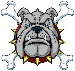 Cartoon Bulldog Mascot Head with Crossbones
