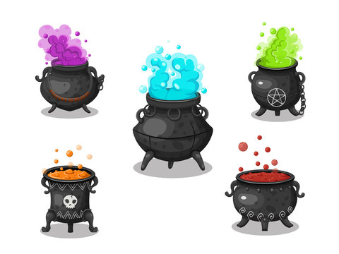 Collection of witches cauldron. Concept cartoon witches cauldron in different . Halloween elements set. Vector clipart illustration isolated on white background