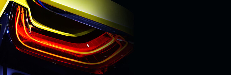 Wall Mural - Car detail. New led taillight in hybrid sports car. copy space