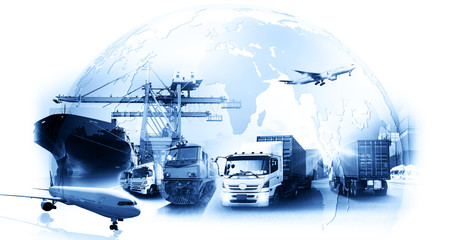 Wall Mural - World map with logistic network distribution on background. Logistic and transport concept in front Logistics Industrial Container Cargo freight ship for Concept of fast or instant shipping Online