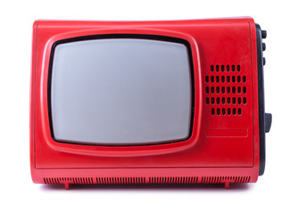 Old red tv on an isolated white background