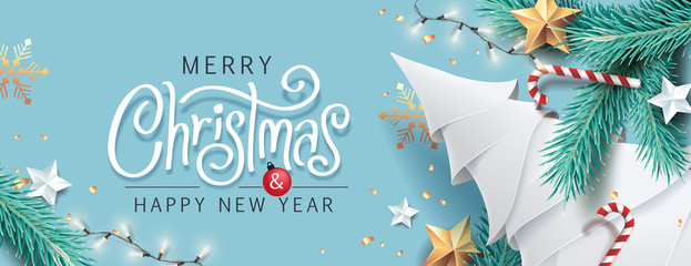 Fototapeten Pool Merry Christmas and Happy New Year background for Greeting cards with tree Branches christmas tree gold paper and gold stars.Merry Christmas vector text Calligraphic Lettering Vector illustration.
