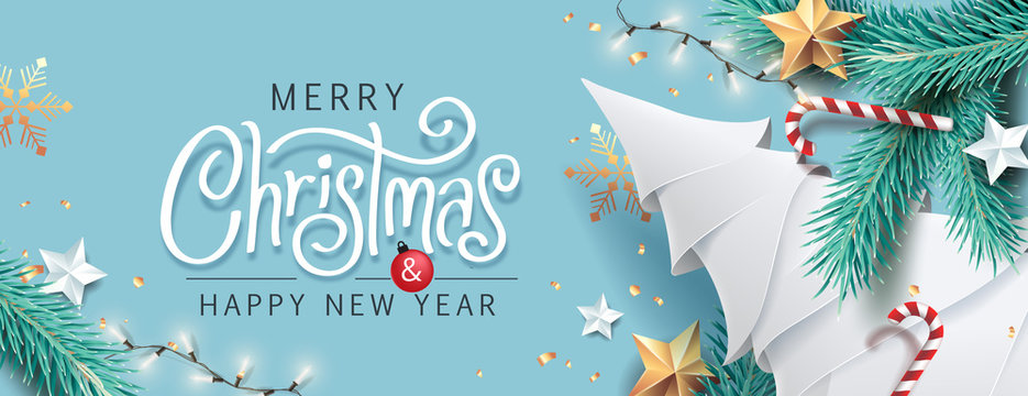 Merry Christmas and Happy New Year background for Greeting cards with tree Branches christmas tree gold paper and gold stars.Merry Christmas vector text Calligraphic Lettering Vector illustration.