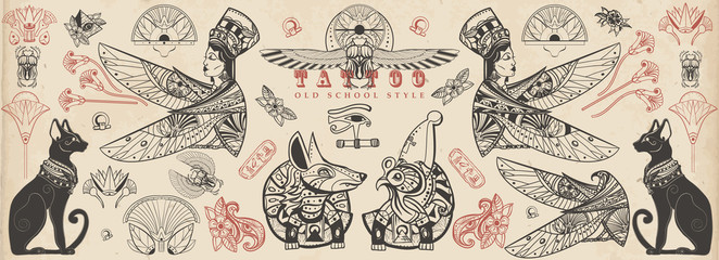 Ancient Egypt collection. Old school tattoo