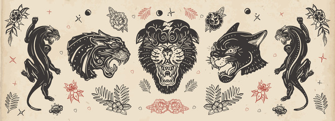 Black panthers. Old school tattoo collection. Japanese style. Vintage wild cats. Traditional tattooing art