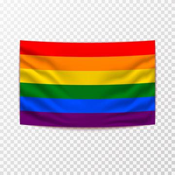 Waving LGBT flag on transparent background vector illustration