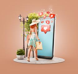 Unusual 3d illustration smart phone application