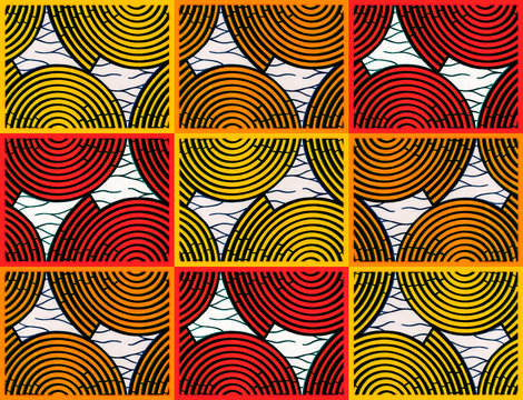 colorful patterns of African fabrics (pieces of cotton)