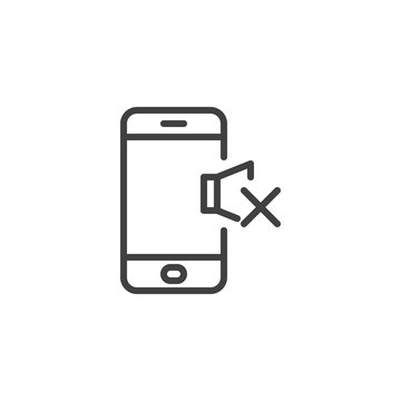 Phone silent mode line icon. linear style sign for mobile concept and web design. Mobile phone volume mute outline vector icon. Symbol, logo illustration. Vector graphics