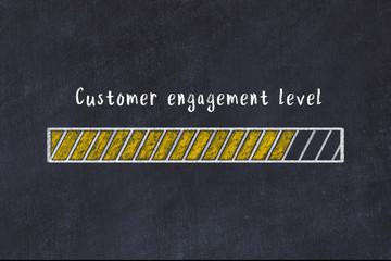 Chalk drawing of loading progress bar with inscription customer engagement level