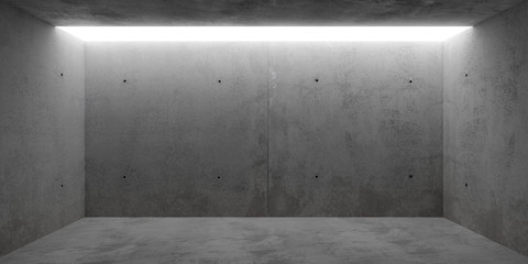 Abstract empty, modern concrete room with toplit backwall - industrial interior or gallery background template, 3D illustration