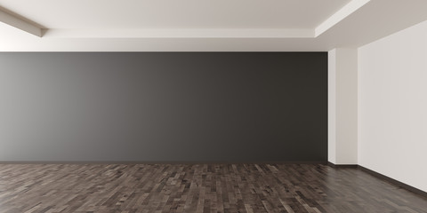 Empty modern room with dark grey walll  in the back and brown wooden floor - home interieur decoration or gallery mock up or template with copy space - 3D illustration