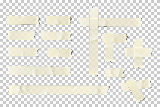 Adhesive or masking tape pieces set. Vector torn masking and adhesive tape parts isolated on transparent background.
