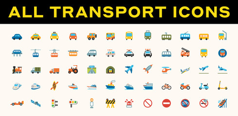 All Transport, Transportation Vector Icons. Logistics, Delivery, Shipping, Railway, Airways, Ambulance, Emergency Car Symbols, Emojis, Emoticons, Flat Illustrations Set, Collection Fototapete