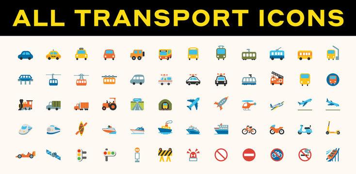 All Transport, Transportation Vector Icons. Logistics, Delivery, Shipping, Railway, Airways, Ambulance, Emergency Car Symbols, Emojis, Emoticons, Flat Illustrations Set, Collection